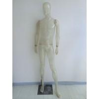 Faceless transparent herremannequin i glasfiber.